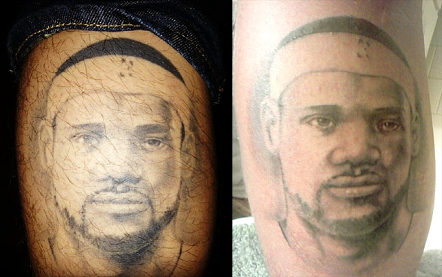 "Last week, LeBron James posted a photo of a fan's tattoed calf on Instagram (left), stating: ""I guess that's pretty cool/creepy/awesome all the same time!"" What's interesting is that LeBron had retweeted an eerily similar photo (right) 2½ years earlier. Was it the same fan? You be the judge. In honor of this sports ink, SI.com takes a look at other fans and their sports tattoos."