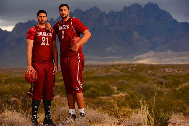 The skyline around the New Mexico State campus has recently added two new peaks to compliment the Organ Mountain Range in the background. Sophomore Sim Bhullar, 7-foot-5, and his younger brother, Tanveer, 7-foot-2 freshman, make up what's believed to be tallest brother tandem in college basketball history. While Tanveer sits as a redshirt this season, Sim had already distinction beyond his height as the Western Athletic Conference's Freshman of the Year award in 2013.