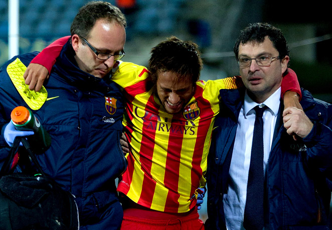 Neymar will miss 3 to 4 weeks with a sprained ankle after suffering the injury in Barcelona's Copa del Rey victory over Getafe.