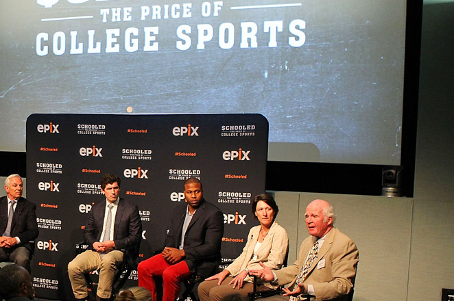 Mary Willingham (2nd from right) said her research of 183 football or basketball players at UNC from 2004-12 found 60 percent reading at 4th-to 8th-grade levels and roughly 10% below a 3rd-grade level.