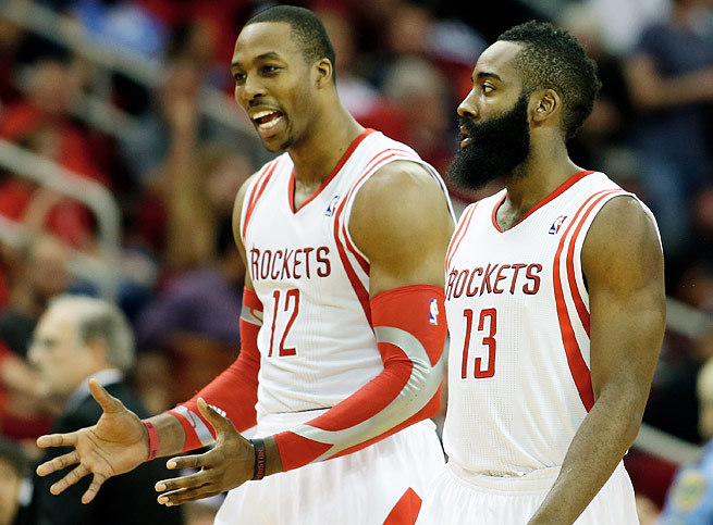 Dwight Howard (left) and James Harden have the Rockets on pace for 52 victories this season.