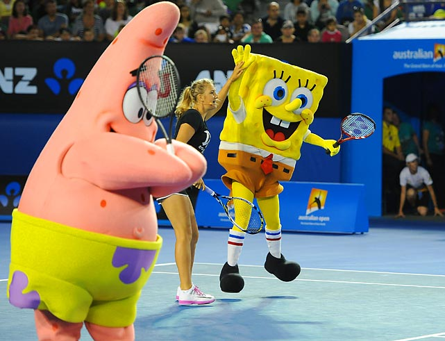 Meanwhile, temperatures of 120 degrees at the big tennis event in Melbourne caused some folks to hallucinate a mixed triples event featuring Patrick Star (no relation to Patrick McEnroe), Victoria Azarenka, and a humble kitchen sponge who goes by the name of Bob and prefers square pants to no pants. (See next frame.)