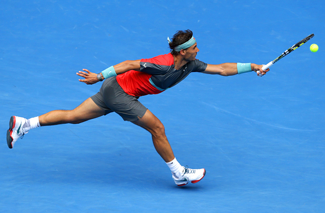 Rafael Nadal felt the heat from Kei Nishikori, but prevailed in three tightly-matched sets.