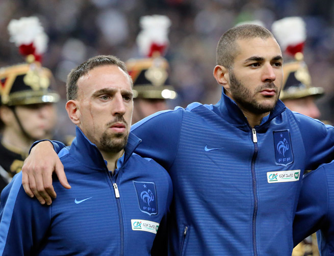 French national team players Franck Ribery, left, and Karim Benzema face up to three years in prison for allegedly soliciting an underage prostitute.
