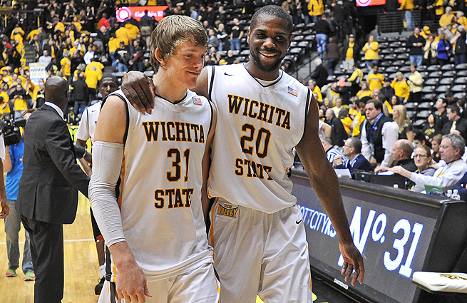 Ron Baker and Kadeem Coleby celebrate a win over MVC foe Indiana State.