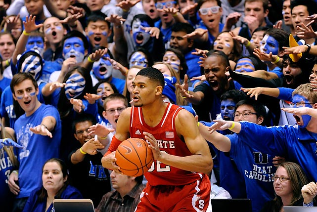 North Carolina State freshman forward Kyle Washington prepares to inbound the ball against Duke as he is jeered by the Cameron Crazies. Duke crushed N.C. State 95-60.