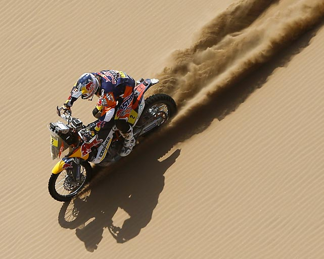 Marc Coma of Spain rides his motorcycle down a dune during the Dakar Rally, a two-week marathon race in the backcountry of South America. Coma is pictured during the 12th stage of the competition, between El Salvador and La Serena, Chile.