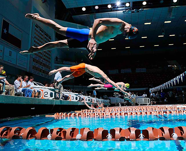 Competitors dive into the water during the 2014 Arena Grand Prix in Austin, Texas. The meet took place on the campus of the University of Texas.