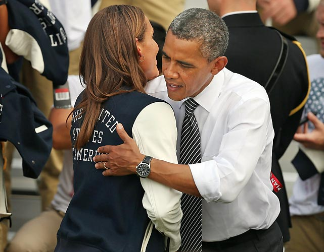 President Barack Obama embraces Jones while welcoming members of the U.S. Olympic and Paralympic teams to the White House in September 2012. The U.S. team brought home 104 medals, 46 of them gold, from the games in London.