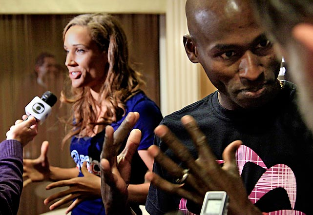 Lolo Jones and Bernard Legat, Olympic medalist and American record holder for the mile, speak to the media in New York in advance of the annual indoor meet at Madison Square Garden.