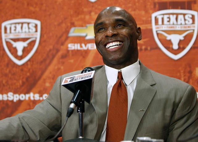 "After turning around Lousiville's football program the previous four years, Charlie Strong was named the new football coach at Texas, one of the most high-profile college coaching jobs in the nation. Not everyone was pleased with Mack Brown's successor: One billionaire booster called the hiring a ""kick in the face,"" saying Strong ""would make a great position coach, maybe a coordinator,"" but that he was not a strong enough candidate to coach what he called ""one of the three most powerful university programs in the world right now."