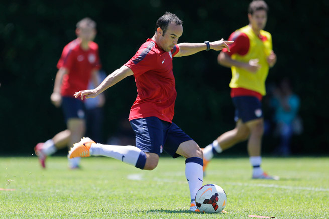Landon Donovan, shown above training in Sao Paulo on Wednesday, says the USA's vast experience will help in matches against tough teams Germany, Portugal and Ghana in the World Cup group stage.
