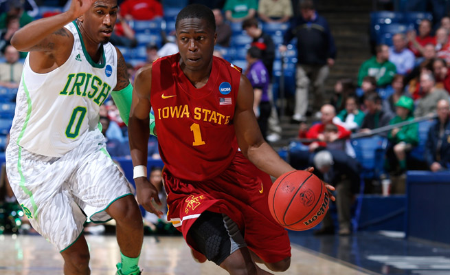 Bubu Palo (1) was reinstated after being kicked off Iowa State's basketball team, but believes the school is preventing him from a transfer.