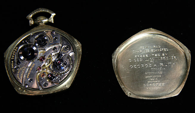 This watch given to Babe Ruth in 1923 commemorated the Yankees' first World Series title.