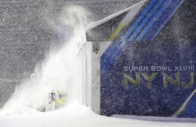 "Balmy East Rutherford, New Jersey, awaits the NFL's ""big game"" on February 2."