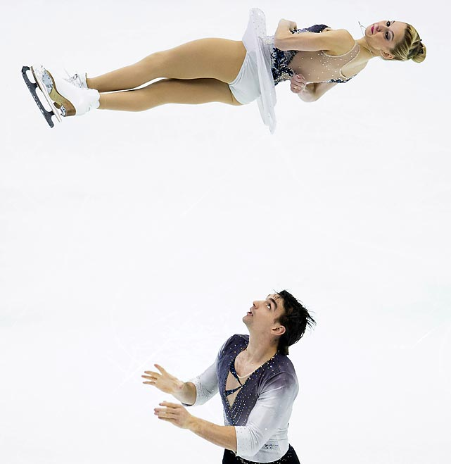 In one of sports' spookier spectacles, Alexa Scimeca levitates as Chris Knierim waits for her to come down during the Pairs Short Program in Taipei, Taiwan.