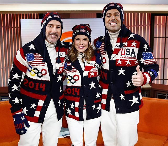 Matt Lauer, Natalie Morales and Carson Daly model the team's eye-popping sweaters on NBC News' <italics>Today</italics> show.