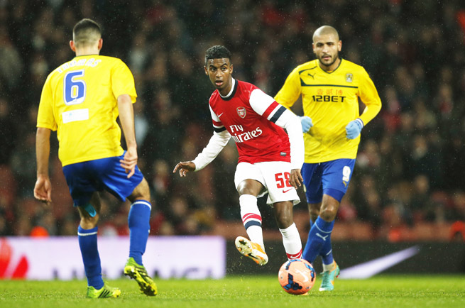 16-year-old Gedion Zelalem, a German-Ethiopian raised in Maryland, makes a pass in his Arsenal debut in the FA Cup against Coventry City.