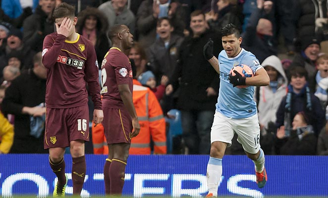 Sergio Agüero scored a hat trick after halftime to help reverse a 2-0 halftime deficit.