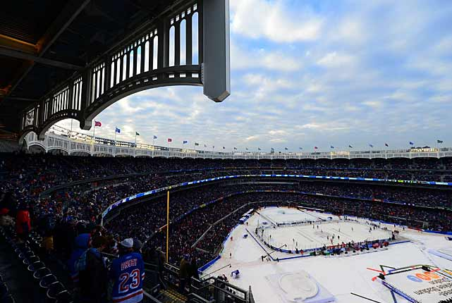 Yankee Stadium wasn't much warmer for its first NHL game on Jan. 26, which featured some sunshine, but the glare delayed the opening face-off by an hour or so.