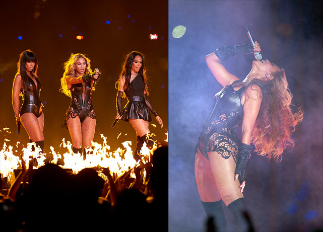 "Mrs. Carter took the stage to perform a medley of current and past hits such as ""Love on Top,"" ""Single Ladies,"" and ""Halo."" Joining Beyoncé in her more than 12-minute set were former Destiny's Child groupmates Kelly Rowland and Michelle Williams. The performance drew more than 104 million viewers, making Beyoncé's extravaganza the second-most watched Super Bowl halftime show in history."