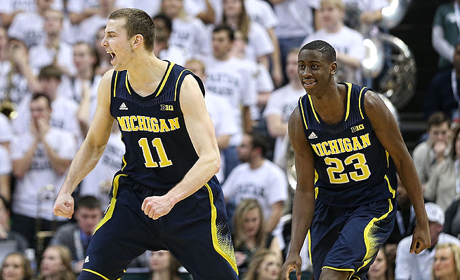 Nik Stauskas and Caris LaVert celebrate their monumental win over Michigan State on Saturday.