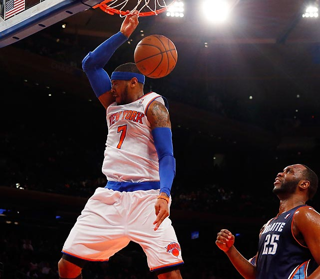 Carmelo Anthony of the New York Knicks dunks against the Charlotte Bobcats in a Friday contest at Madison Square Garden. Anthony finished the game -- a 125-96 victory over Charlotte -- with 62 points, a team record.