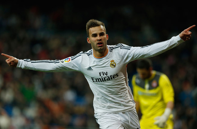 Real Madrid's Jese Rodriguez celebrates his goal that gave his club a 1-0 win over Espanyol in the second leg of their Copa del Rey quarterfinal.