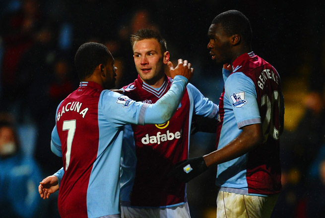 From left, Aston Villa's Leandro Bacuna, Andreas Weimann and Christian Benteke celebrate after a goal in the club's 4-3 win over West Brom. All three scored in the match.