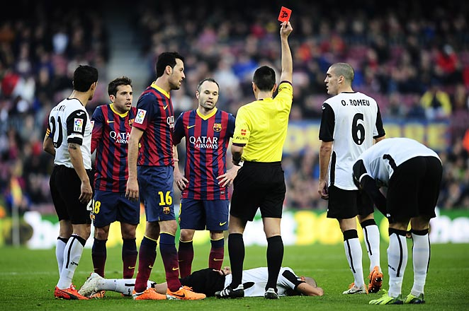 Jordi Alba was ejected from the game in the 78th minute of Barcelona's loss to Valencia on Saturday.