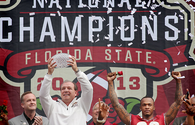 Jimbo Fisher and Florida State celebrated their national title in front of 30,000 fans.