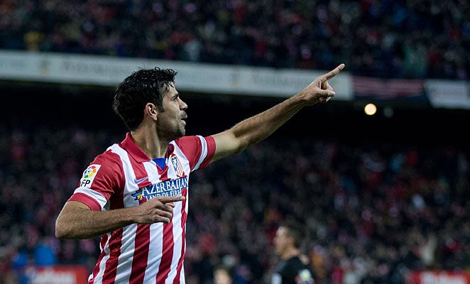 Diego Costa scored the second goal in Atlético Madrid's rout of Real Sociedad on Sunday.