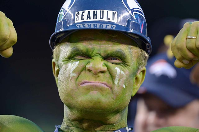 "Seattle Seahawks superfan ""Seahulk"" flexes during his team's Super Bowl victory over the Denver Broncos."