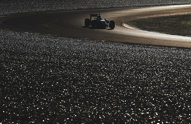 French driver Jean-Eric Vergne, a member of the Formula One team Scuderia Toro Rosso, navigates the Circuito de Jerez course during day three of Formula One Winter Testing. The event took place in Jerez de la Frontera, Spain.