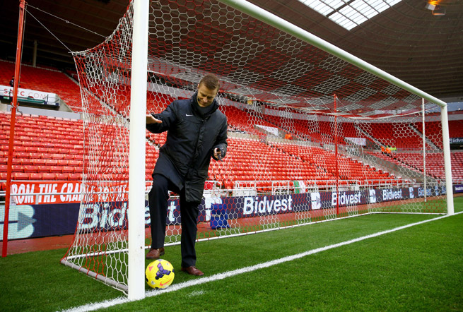 Referee Mike Jones tests goal-line technology prior to an English Premier League game at Sunderland's Stadium of Light on Jan. 1.