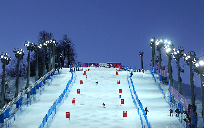 Athletes practice for the moguls competition at the Extreme Park on Rosa Khutor Mountain near Sochi.