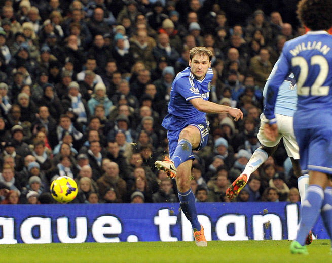 Chelsea's Branislav Ivanovic rips a left-footed shot for the only goal in the Blues' 1-0 win at Manchester City on Monday.