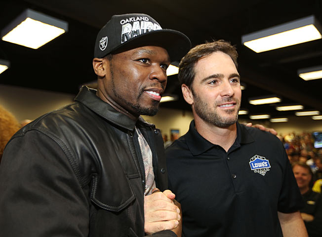 NASCAR fan 50 Cent (here with Jimmie Johnson) is about to have a higher profile in the sport.