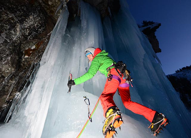 Olson is among several climbers performing a cultural demonstration of ice climbing at the 2014 Sochi Winter Olympics.