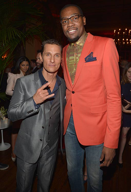 Durant and Matthew McConaughey at the GQ Men Of The Year Party at The Ebell Club of Los Angeles.