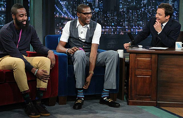 Durant appeared on Late Night with Jimmy Fallon, along with teammate James Harden.