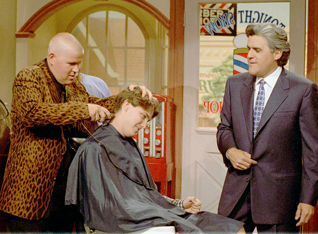 Golfer John Daly shaved the head of an audience member on Jay Leno's show after Daly won the British open and did the same to his own head. Leno's hair remained untouched.