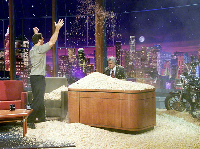 "NFL quarterback Doug Flutie appeared on the show in 2001 and proceeded to watch the cereal ""Flutie Flakes"" fall on the host."