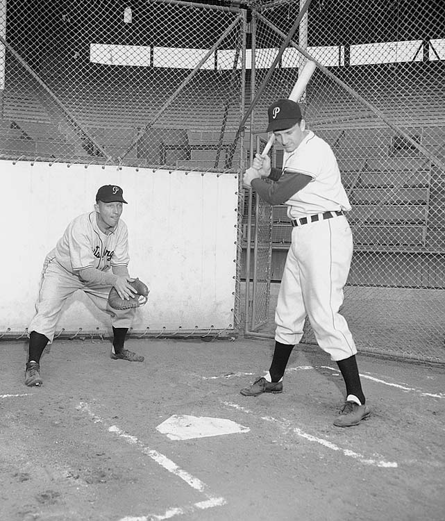 Bing Crosby, a co-owner of the Pittsburgh Pirates, and not a bad ball player himself showed up at the Buc's spring training camp and worked out with the team in Los Angeles on March 3, 1948. Crosby is catching while Ralph Kiner bats.