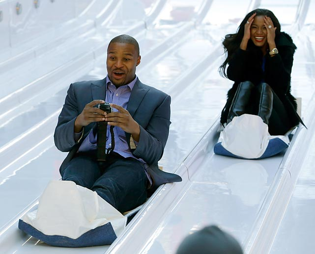 The end of his NFL career approaching, the Atlanta Falcons defensive end is apparently exploring an exciting switch to tobogganing, with obvious approval from his fiancee, who, by the way, was crowned Miss Universe 2011.