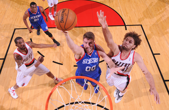 Spencer Hawes leads the 76ers in rebounds per game (8.7) and three-point shooting (41.1 percent).