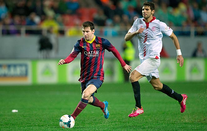 Lionel Messi scored his first two goals from open play since September in Barcelona's win on Sunday.