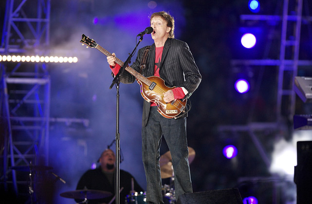 Paul McCartney performs the halftime show at Super Bowl XXXIX at Alltel Stadium in Jacksonville. The Patriots beat the Eagles 24-21 behind Deion Branch's MVP performance.
