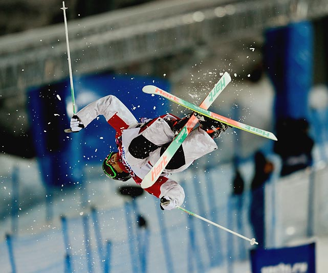 Canadian skier Alex Bilodeau competes during the finals of the freestyle skiing moguls in Sochi. Bilodeau won the gold medal.