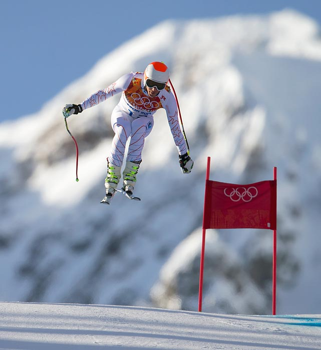American alpine skier Bode Miller practices on the course at the Sochi Olympics. Miller ended up finishing in eighth place in men's downhill.